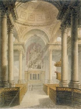 Interior of the Church of St Stephen Walbrook, City of London, 1810 by Frederick Mackenzie