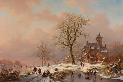 Winter Landscape with Figures Playing on the Ice, 1868 by Frederick Marianus Kruseman
