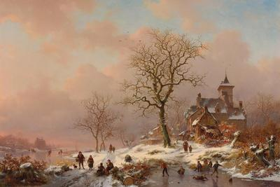 Winter Landscape with Figures Playing on the Ice, 1868