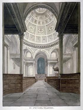 Church of St Stephen Walbrook, City of London, C1840 by Frederick Nash
