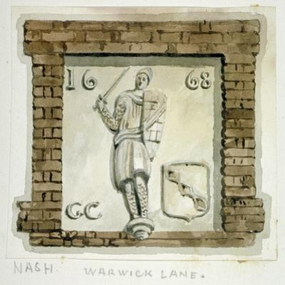 Effigy of Guy, Earl of Warwick, on the Wall of a House in Warwick Lane, City of London, C1820