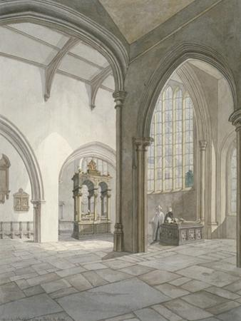 Interior South-West View of the Church of St Helen, Bishopsgate, City of London, 1820