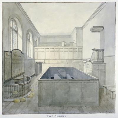 Interior View of the Chapel in Newgate Prison, Old Bailey, City of London, 1840