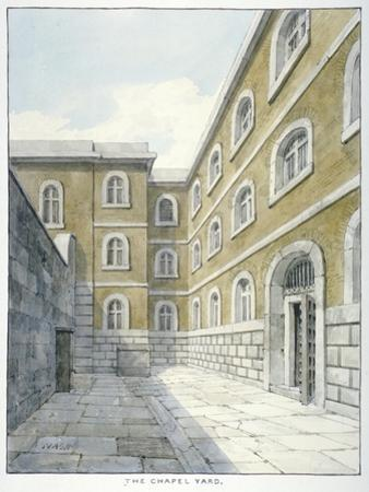 The Chapel Yard in Newgate Prison, Old Bailey, Newgate Prison, Old Bailey, City of London, 1840