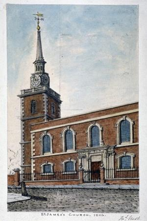 View of St James's Church, Piccadilly from Jermyn Street, London, 1806