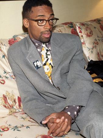 Filmmaker Spike Lee, Wearing a Malcolm X Button, 1992