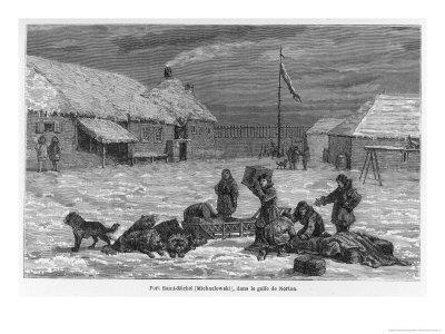 Loading Goods onto a Dog Sledge at Fort St. Michael (Formerly Michaelowski) in Norton Gulf Alaska
