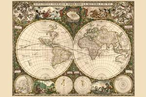 World maps framed art for sale at allposters world map by frederik de wit gumiabroncs Choice Image