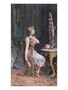 Golden Hair, 1894 (Colour Litho) by Frederik Hendrik Kaemmerer