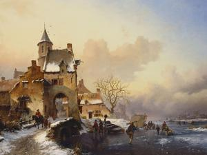 Figures Crossing a Bridge in Frozen Landscape, 1850 by Frederik Marianus Kruseman