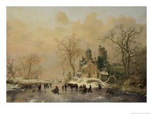 Figures on a Frozen Waterway, no.1 by Frederik Marianus Kruseman