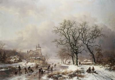 Figures on a Frozen Waterway, no.2 by Frederik Marianus Kruseman