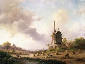 Harvesters in an Extensive Landscape, 1850 by Frederik Marianus Kruseman