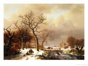 Meeting in the Snow by Frederik Marianus Kruseman