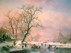 Skaters on a Frozen River by Frederik Marianus Kruseman