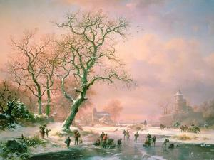 Skaters on a Frozen River by Frederik Marianus Kruseman