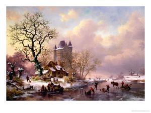 Winter Landscape with a Castle by Frederik Marianus Kruseman