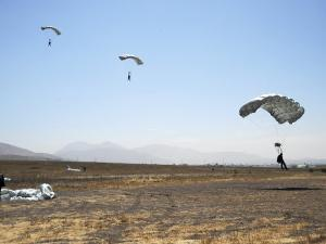 Freefall Parachute Jumpers Approaching the Trident Drop Zone in San Diego