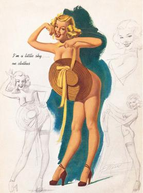 Retro Pin Up, Nude with Summer Hat by Freeman Elliott