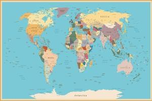 Highly Detailed World Map with Vintage Color. by frees