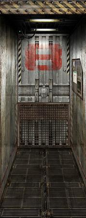Freight Elevator Door Decal