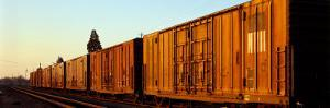 Freight Train on the Railroad Tracks, Central Valley, California, USA