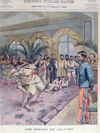A Jiu-Jitsu Session in France, Illustration from 'Le Petit Parisien', 1905 (Colour Litho)