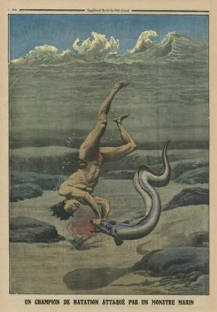 A Swimming Champion Attacked by a Sea Monster by French