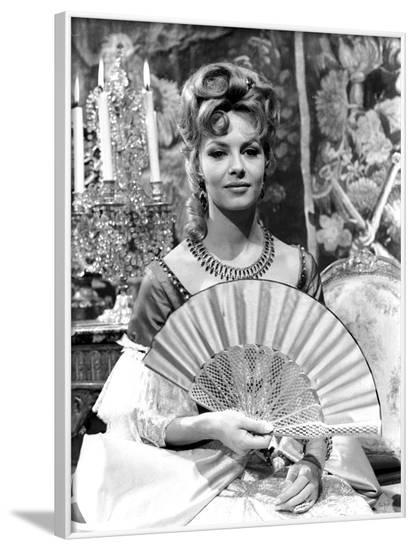 """French actress Michele Mercier shooting a scene of the movie """"Angelique and the King"""", 1965 (b/w ph--Framed Photo"""
