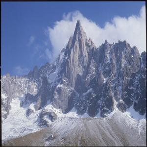 French Alps: the Dru Mountain (3750 Metres High) Viewed from Chamonix