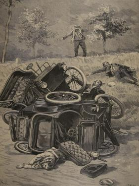 Automobile Accident, Illustration from 'Le Petit Journal: Supplement Illustre', 1898 (Litho) by French