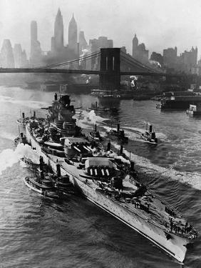 French Battleship Richelieu Passes Brooklyn Bridge