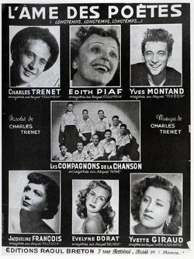 Front Cover of the Score of the Song 'L'Ame Des Poetes' with Words and Music by Charles Trenet by French