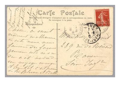 Handwritten Postcard Sent to Madame J. Monet (Ink on Paper) (Verso for Recto See 233965)
