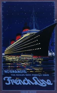 French Line Poster for the Ss Normandie Ocean Liner, 'the World's Most Perfect Ship'