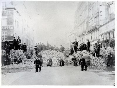Barricade on Rue De Charonne During the Paris Commune, 18th March 1871 (B/W Photo) by French Photographer