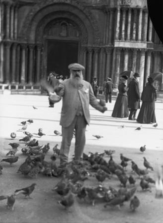 Claude Monet, St.Mark's Square, Venice, October 1908 by French Photographer