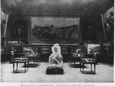 First Room of Paintings with the Kiss by Auguste Rodin, Musee Du Luxembourg, Paris, C.1910 by French Photographer