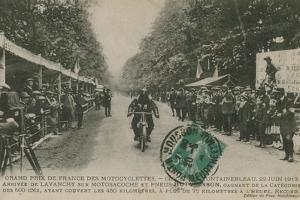 French Motorcycle Grand Prix, Fontainebleau, 22 June 1913. Lavanchy Winning by French Photographer