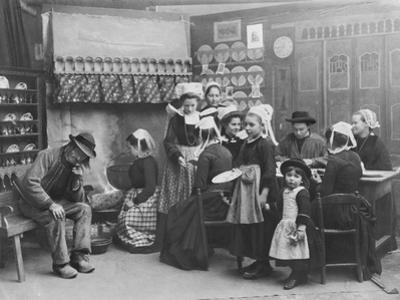 Interior of a Breton Pancake Restaurant, Finistere, c.1900 by French Photographer