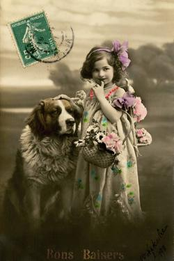 'Kisses' Postcard, 1911 by French Photographer
