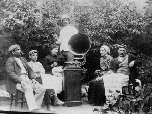 Listening to the Gramophone Near Beziers, c. 1910 by French Photographer