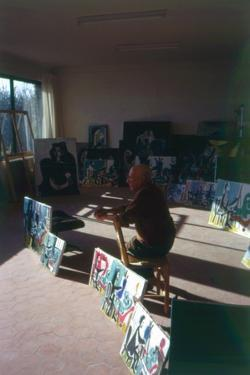Pablo Picasso (1881-1973) in His Studio Surrounded by His Series 'Le Peintre et Son Modele' by French Photographer