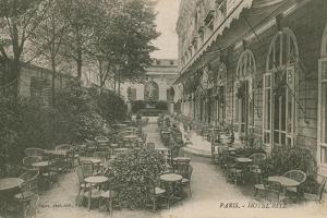 Patio of the Hotel Ritz, Paris. Postcard Sent in 1913 by French Photographer