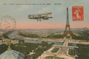 Postcard of an Aeroplane Circling around the Eiffel Tower, Sent in 1913 by French Photographer