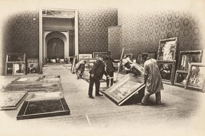 Preparations for Hanging at the Salon des Artistes Francais, Grand Palais, Paris, May 1903 by French Photographer