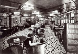 Reading Room on the Ocean Liner 'Ile De France', 1926 (B/W Photo) by French Photographer