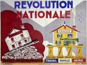 French Poster, National Revolution: Work, Family, Homeland, 1938