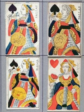 Queen of Spades and Queen of Hearts Playing Cards, 17th - 18th Century (Coloured Wood Engraving) by French
