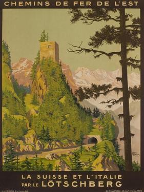 French Railway Travel Poster, Chemin De Fer De L'Est, Switzerland and Italy